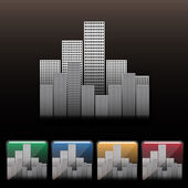 Skyscraper city icon set. Vector
