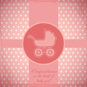 Card for baby with a baby carriage. Vector