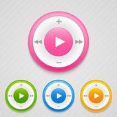 Play, szünet és stop gomb. zenei ikonok. vektoros illusztráció.