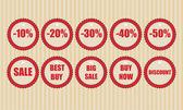 Vektor Rabatt Etiketten Vektor Illustration