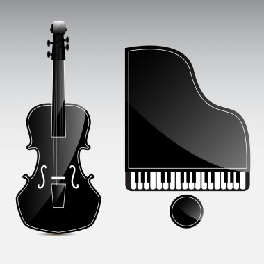 Set of vector musical instruments - grand piano and contrabass. stock vector