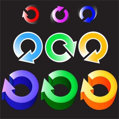 Set of circular colored arrows logos. Vector stock vector