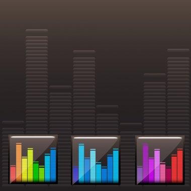 Vector colored music spectrum set stock vector