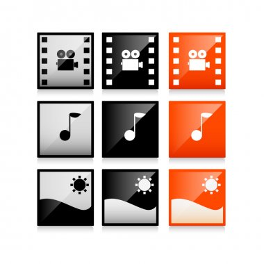 Multimedia icons: photo, video, music vector set stock vector