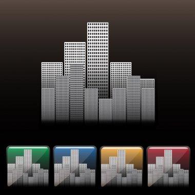 Skyscraper city icon set. Vector stock vector