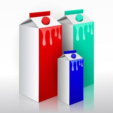 Milk carton with screw cap. Collection of milk boxes stock vector