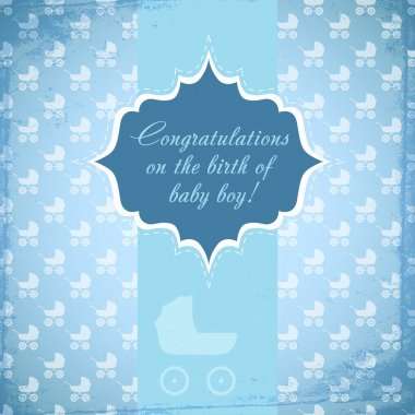 Card for baby with a baby carriage. Vector stock vector