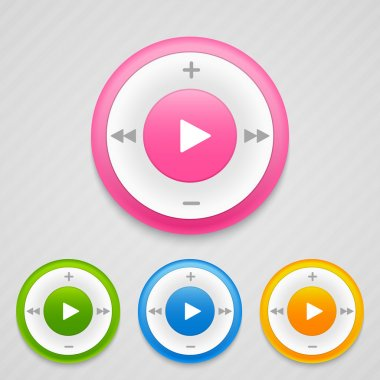 Play ,Pause and Stop buttons. Music icons. Vector illustration. stock vector