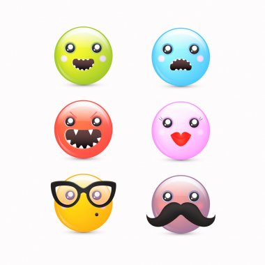 Smileys icon set - vector cartoon funky emoticons stock vector
