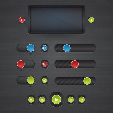 Vector set of media buttons stock vector