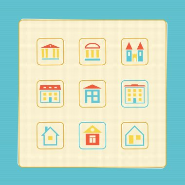 Set of icons of houses. A vector illustration. stock vector
