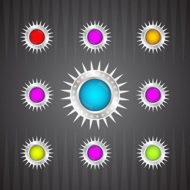 Collection of colorful glossy round buttons stock vector