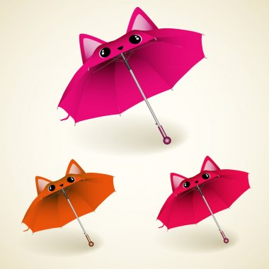 Set of kitty umbrellas stock vector