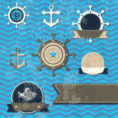 Vector vintage set - Sea fauna, Marine things stock vector
