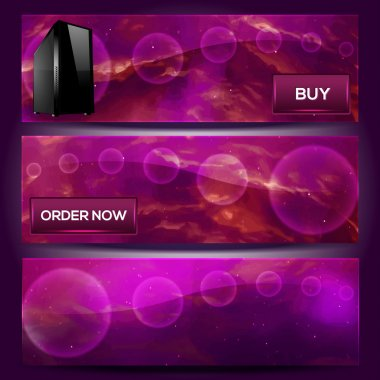 Vector banners with computer - Order now stock vector