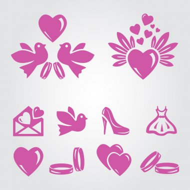 A vector illustration of a set of wedding icons stock vector