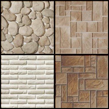 Set - vector stone wall - seamless patterns stock vector