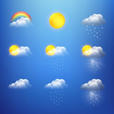 Vector weather icons collection stock vector