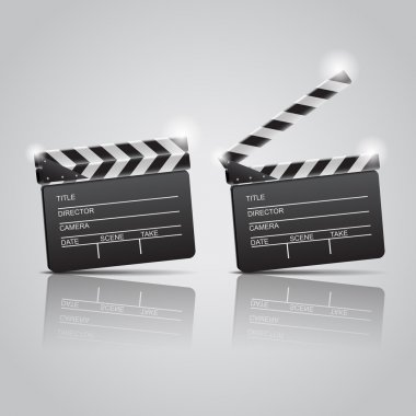 Film clap boards cinema. Vector illustration stock vector