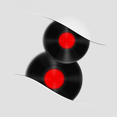 Two vector vinyl records stock vector