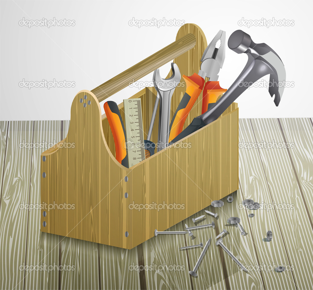 Toolbox with tools. Vector illustration. stock vector
