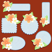 Pohlednice s květinami. vektor.