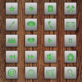 Vector set of web buttons on wooden background.