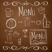 Chalk Rady s ručně tažené vintage prvky pro menu. vektorové ilustrace.