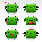 Cartoon fat green fire dragon icon set