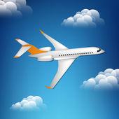 Illustration des Flugzeugs am Himmel.