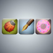 Ladybug and Pen and donut Icon