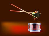 A szója szósz mártja sushi