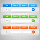 Webové stránky šablony návrhu navigační prvky sadou ikon: navigační panely nabídek