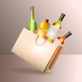 láhve vína v dárkové tašce. vektor