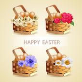 Ostereier im Korb mit Frühlingsblumenschmuck. Vektor