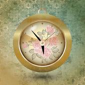 Floral design of clock. Vector