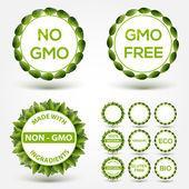 No GMO food label stickers. Vector