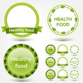 Collection of bio and eco organic labels natural products. Vector