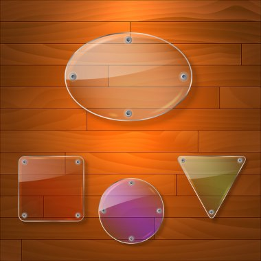 Vector set of shiny glass labels. stock vector