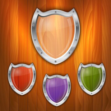 Vector set of glass shields. stock vector