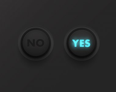 Yes no button with black panel stock vector