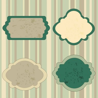 Set Retro green Tag. Vector stock vector
