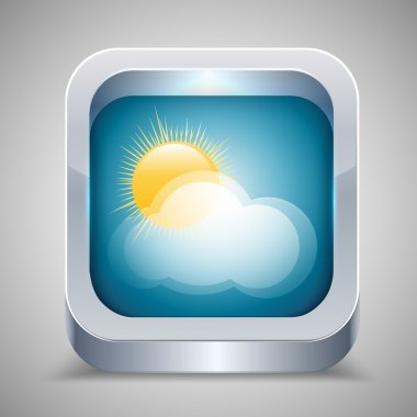 Weather icon with sun and cloud. stock vector