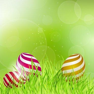 Easter eggs on grass. stock vector