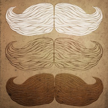 Vector grunge background with mustaches. stock vector
