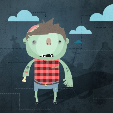 Vector grunge background with zombie. stock vector