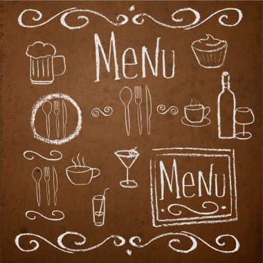 Chalk board with hand drawn vintage elements for menu. Vector illustration. stock vector