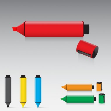 Set of highlighter pens stock vector