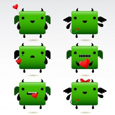 Cartoon fat green fire dragon icon set stock vector