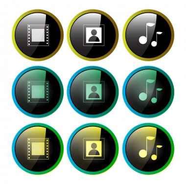 Multimedia icons set - photo and video and music stock vector